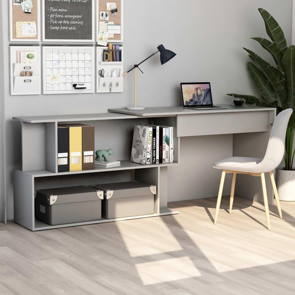 vidaXL Rohový stôl, sivý 200x50x76 cm, drevotrieska