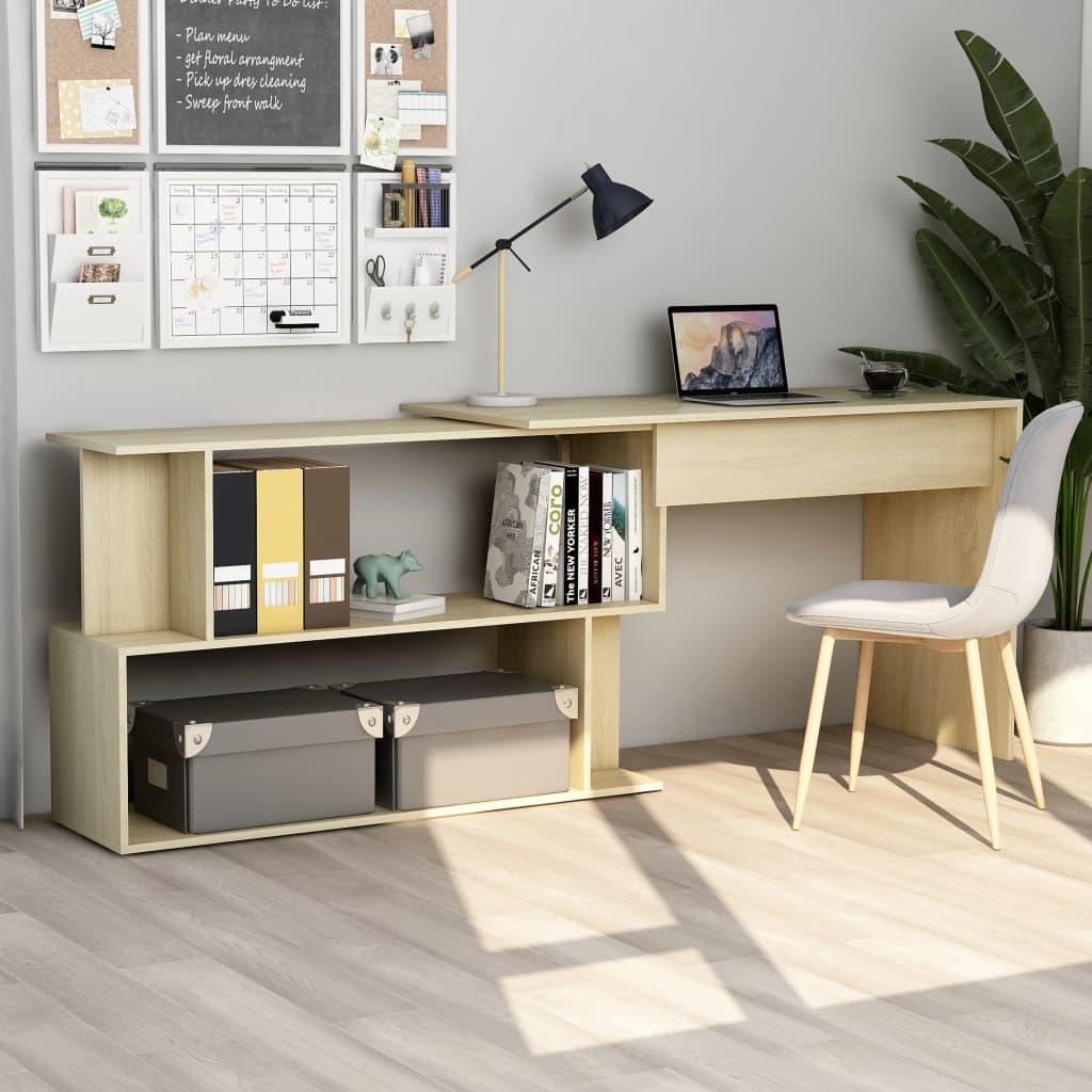 vidaXL Rohový stôl, dub sonoma 200x50x76 cm, drevotrieska