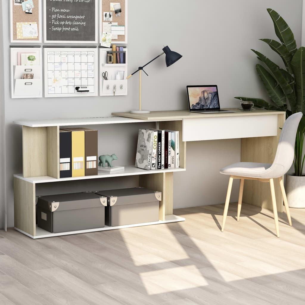vidaXL Rohový stôl, biela a dub sonoma 200x50x76 cm, drevotrieska