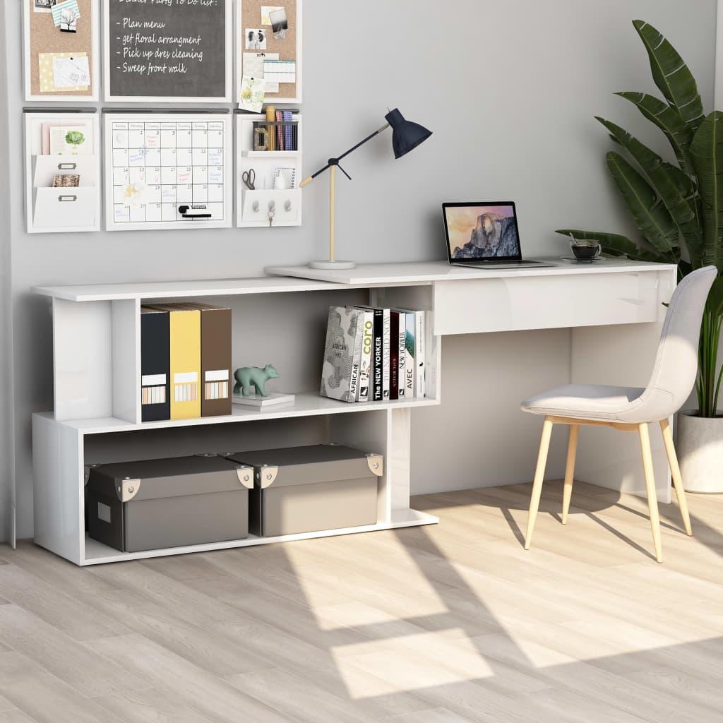vidaXL Rohový stôl, lesklý biely 200x50x76 cm, drevotrieska
