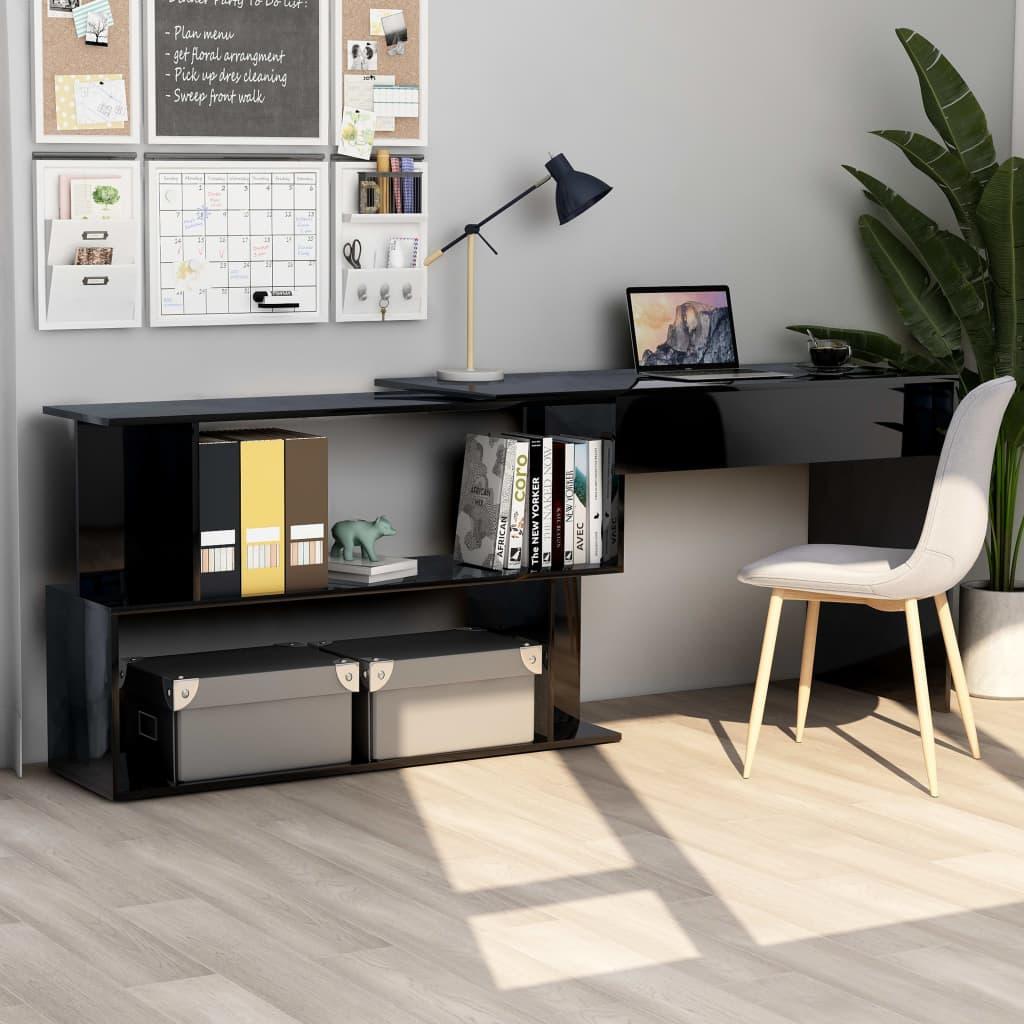 vidaXL Rohový stôl, lesklý čierny 200x50x76 cm, drevotrieska