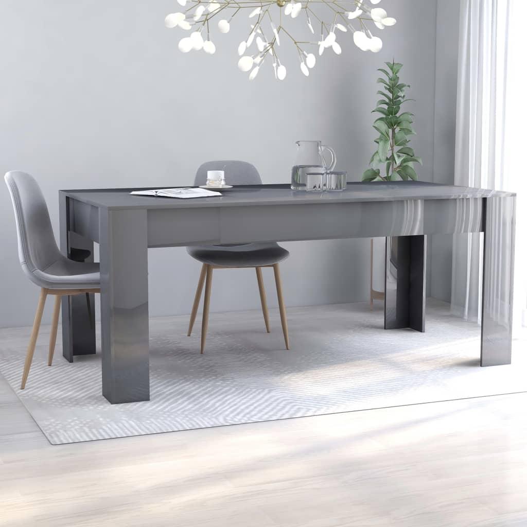 vidaXL Jedálenský stôl, lesklý sivý 180x90x76 cm, drevotrieska