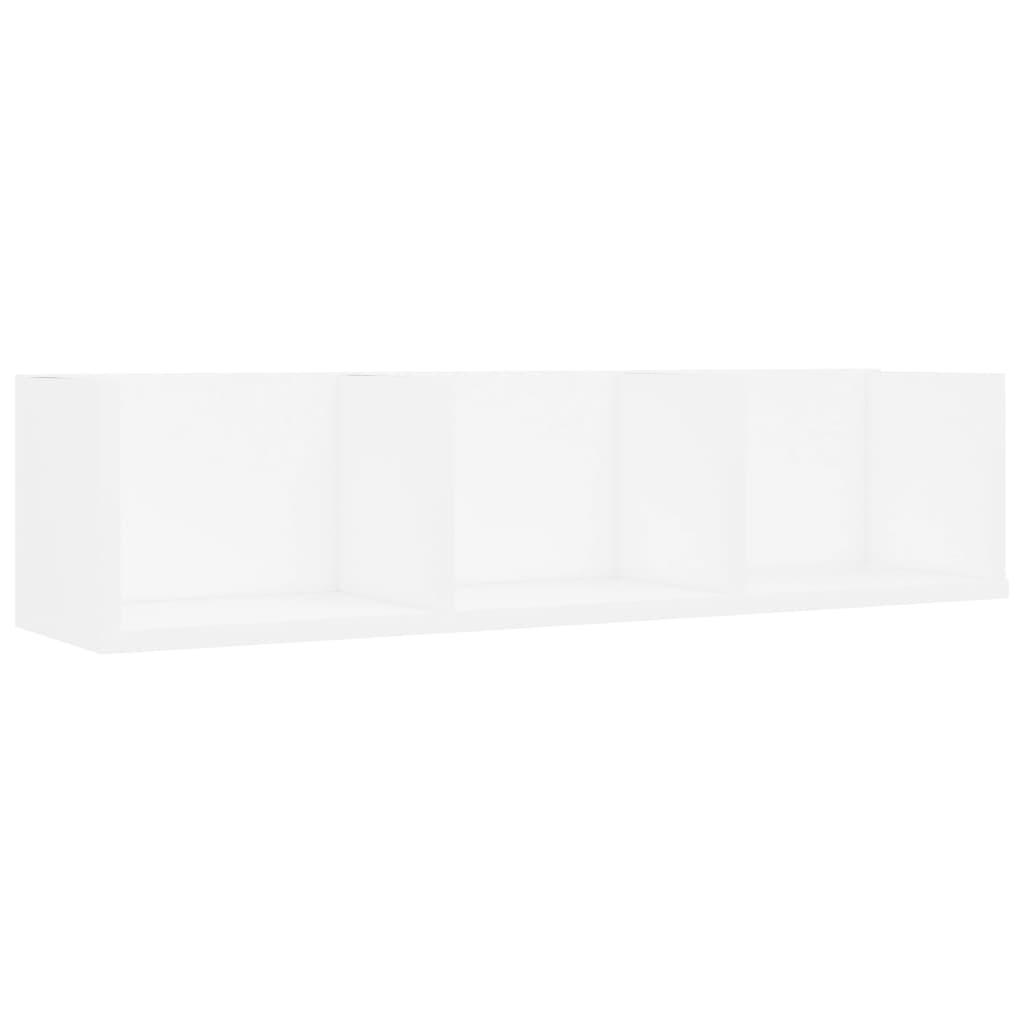 vidaXL Nástenná polica na CD biela 75x18x18 cm drevotrieska