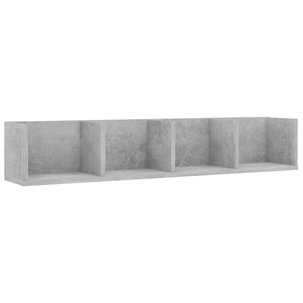 vidaXL Nástenná polica na CD betónová šedá 100x18x18 cm drevotrieska