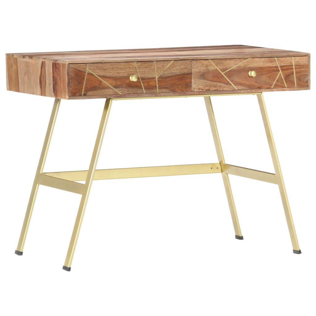 vidaXL Písací stôl so zásuvkami 100x55x75 cm masívne sheeshamové drevo