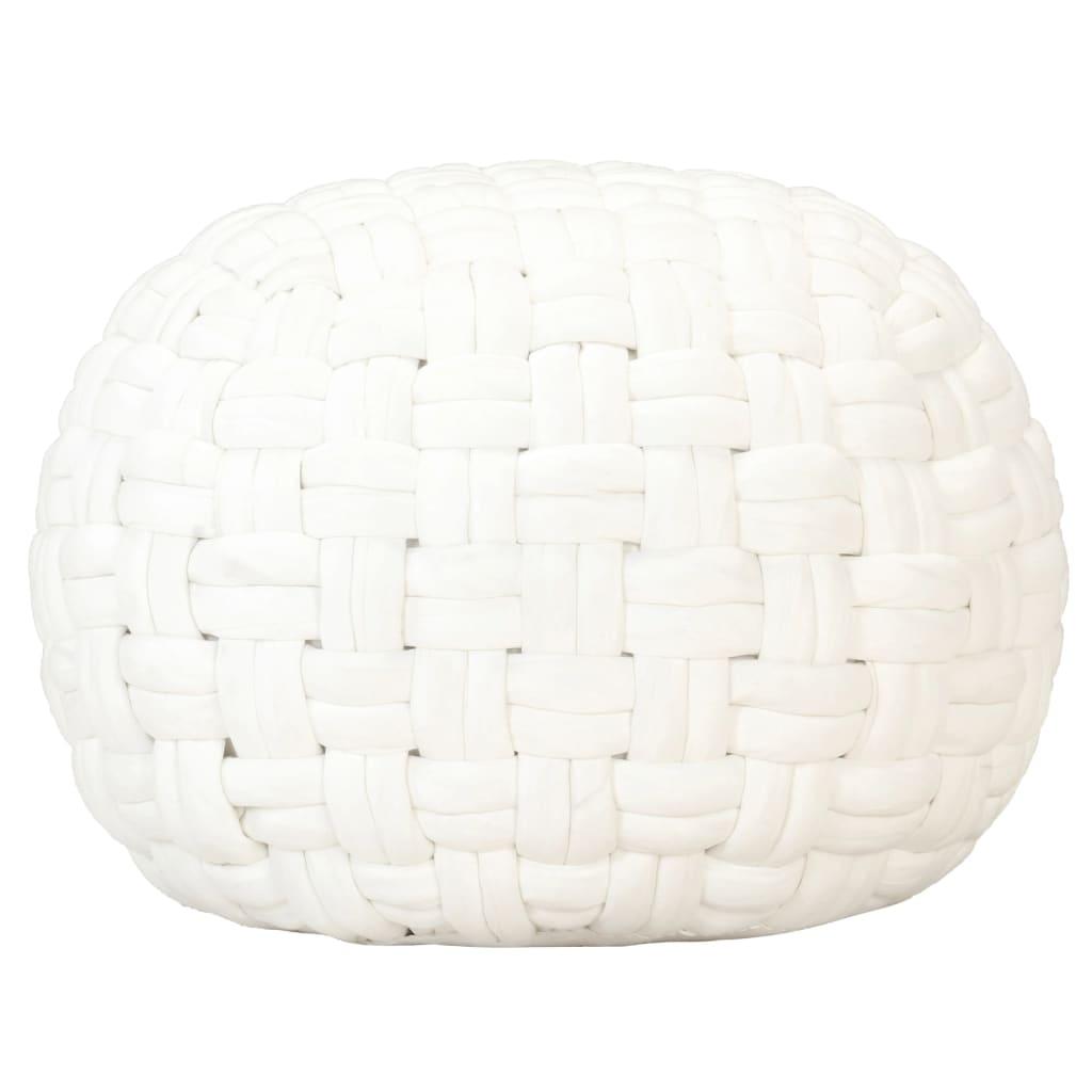 vidaXL Taburetka spletaný dizajn biela 50x35 cm bavlna