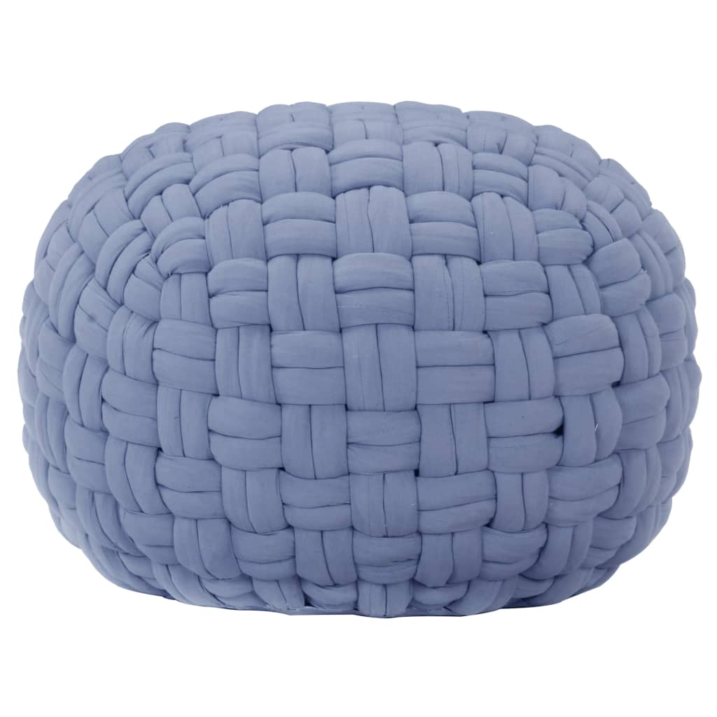 vidaXL Taburetka spletaný dizajn modrá 50x35 cm bavlna
