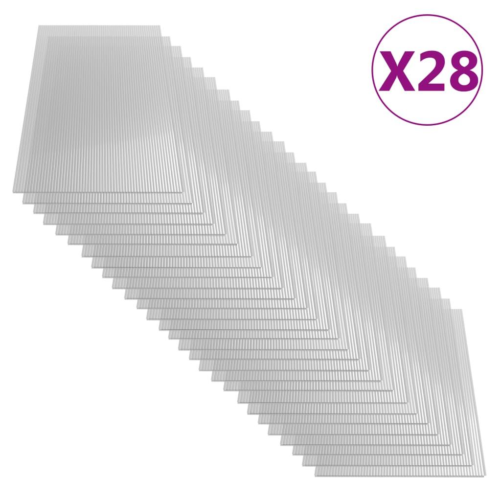 vidaXL Polykarbonátová doska 28 ks 4 mm 121x60 cm