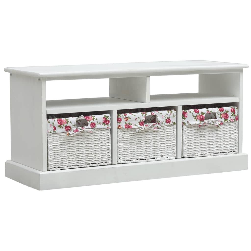 vidaXL Halová lavička s 3 košmi biela drevená