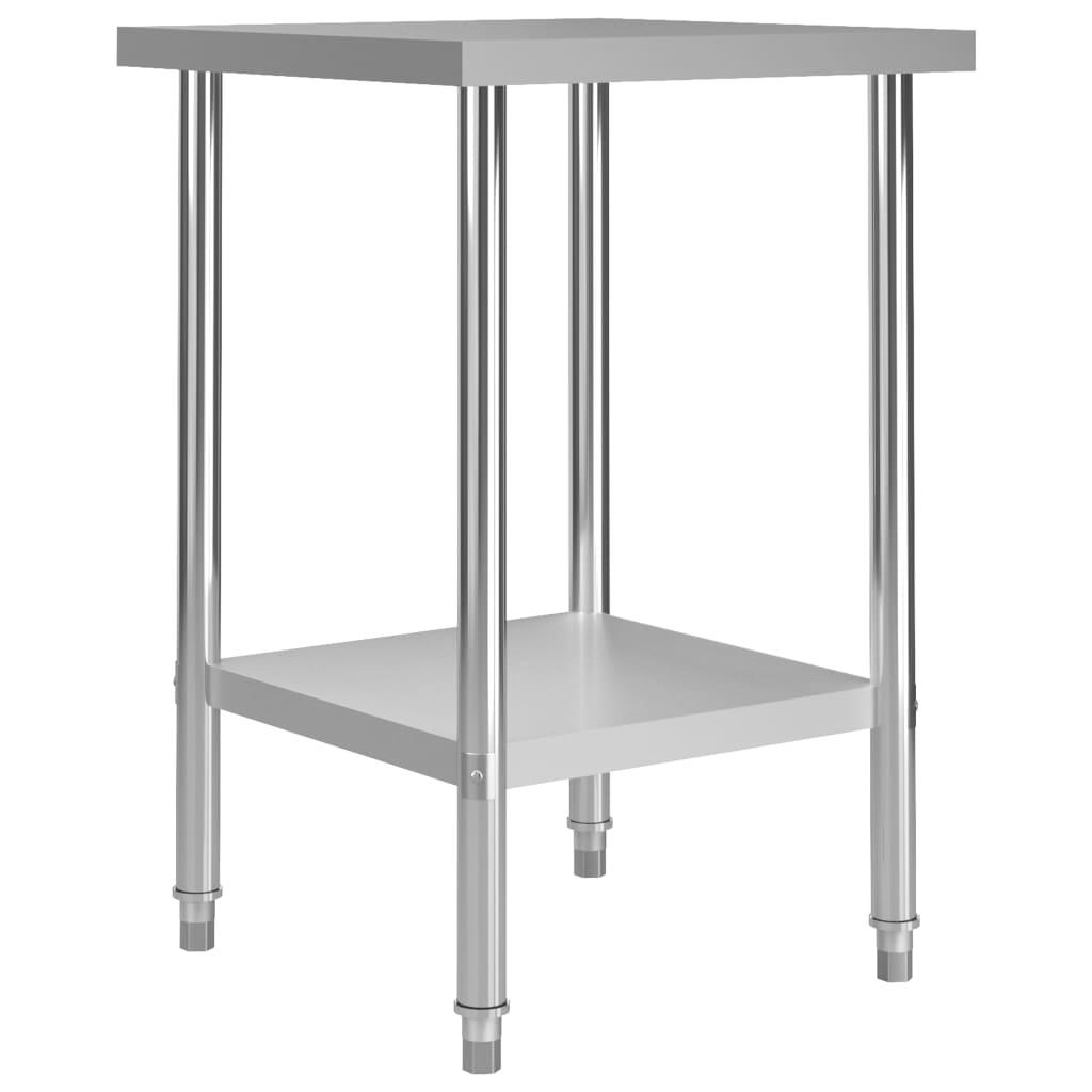 vidaXL Kuchynský pracovný stôl 60x60x85 cm, nehrdzavejúca oceľ