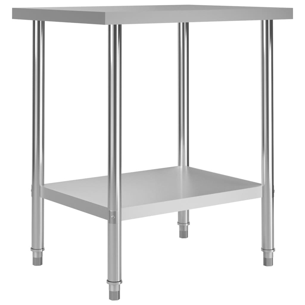 vidaXL Kuchynský pracovný stôl 80x60x85 cm, nehrdzavejúca oceľ