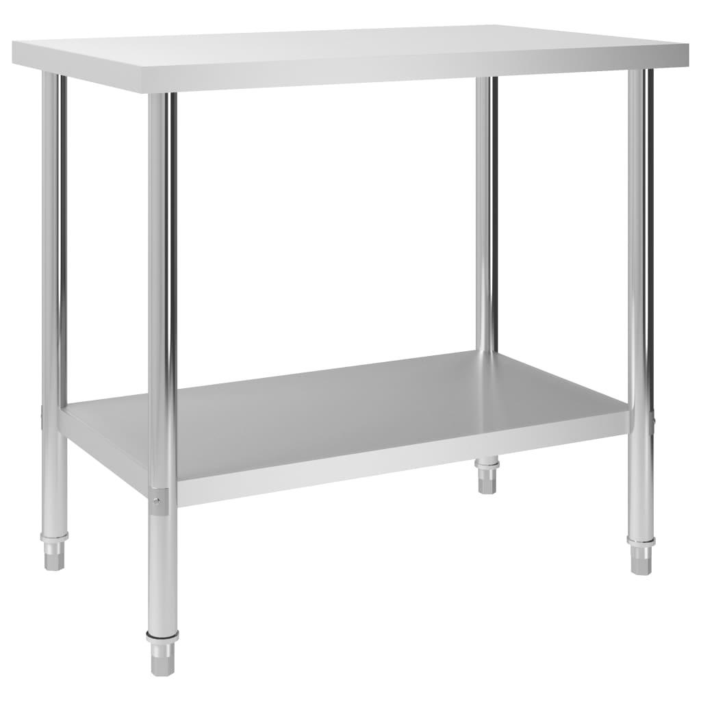 vidaXL Kuchynský pracovný stôl 100x60x85 cm, nehrdzavejúca oceľ