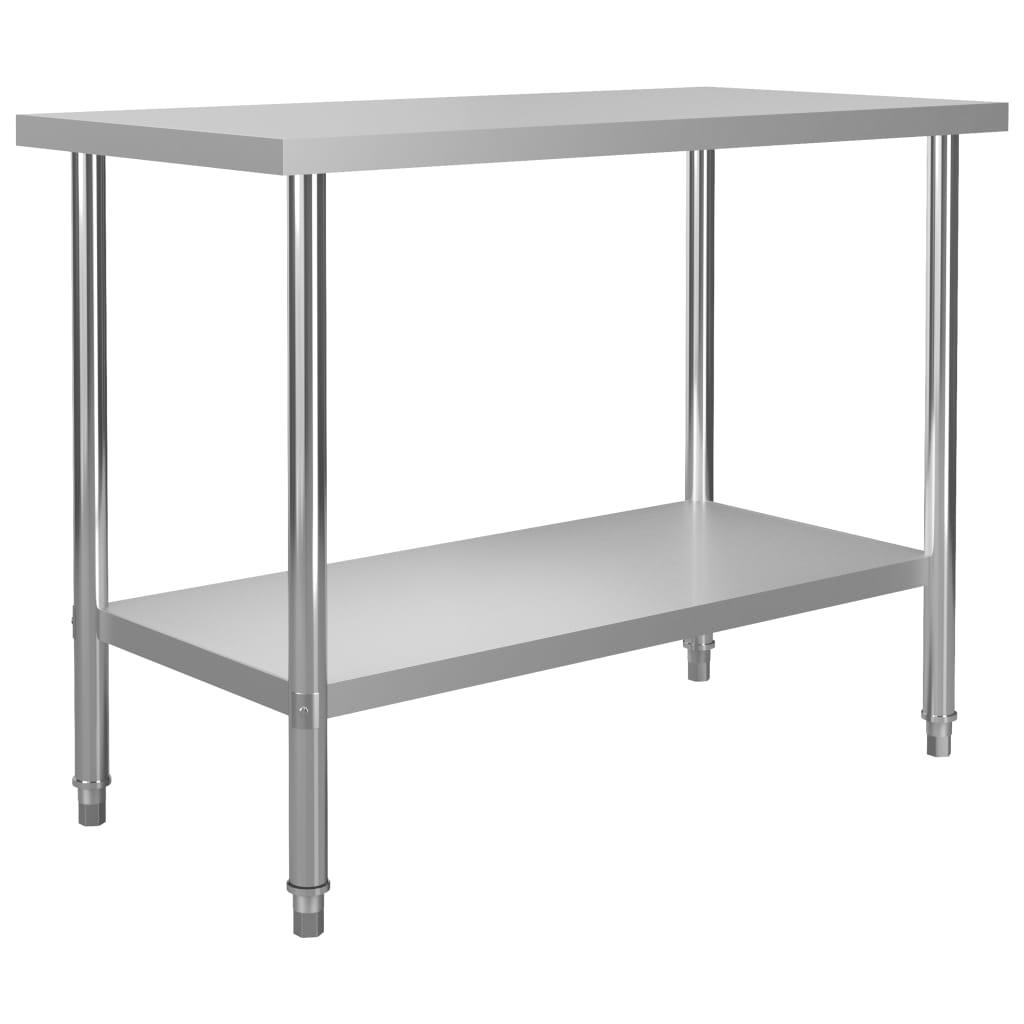vidaXL Kuchynský pracovný stôl 120x60x85 cm, nehrdzavejúca oceľ