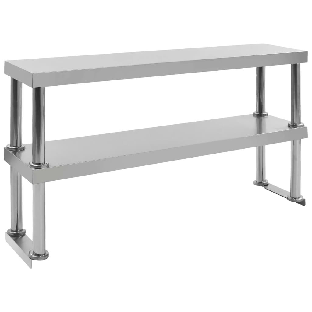 vidaXL Dvojitá polica na pracovný stôl 120x30x65cm, nehrdzavejúca oceľ
