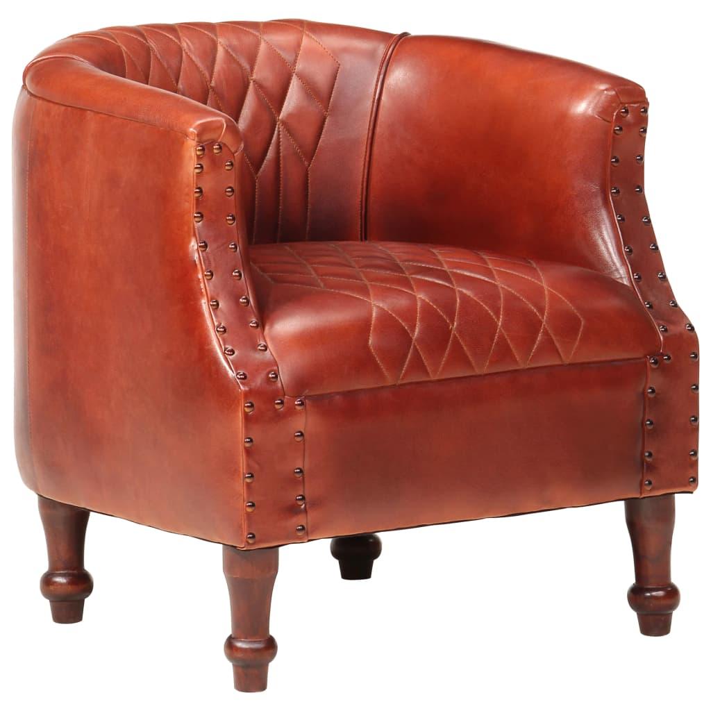 vidaXL Klubové kreslo, hnedé 62x58x65 cm, pravá koža