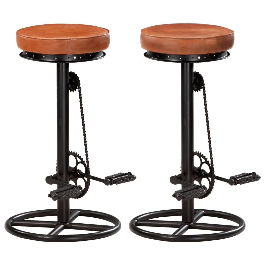 vidaXL Barové stoličky 2 ks čierno-hnedé pravá kozia koža
