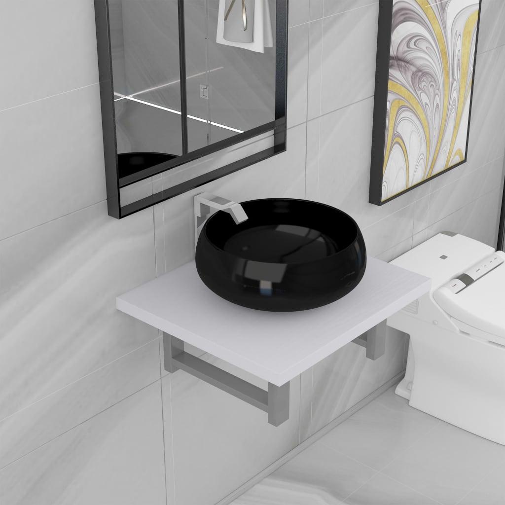 vidaXL Dvojdielna sada kúpeľňového nábytku biela keramická