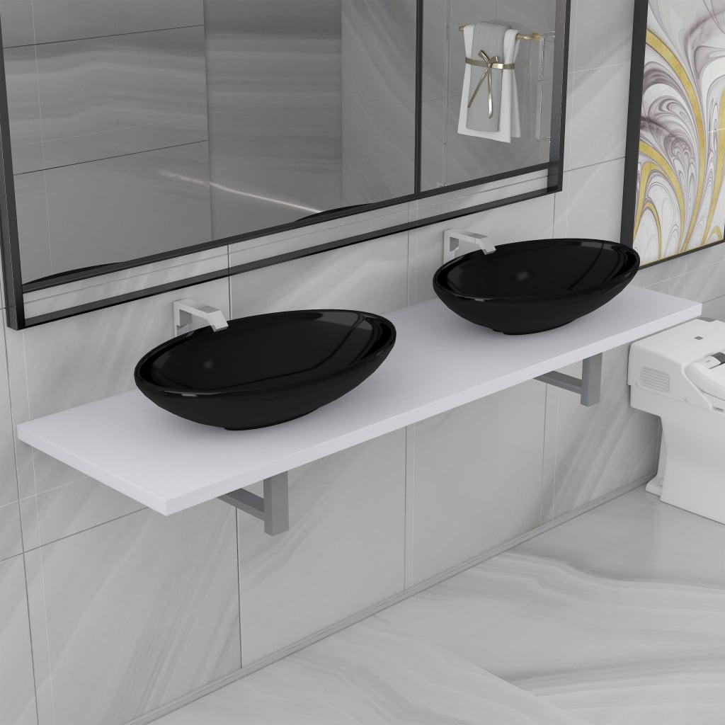 vidaXL Trojdielna sada kúpeľňového nábytku biela keramická