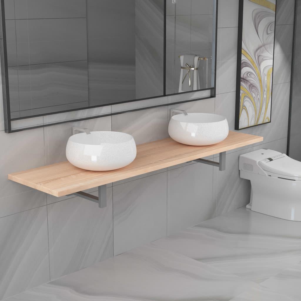 vidaXL Trojdielna sada kúpeľňového nábytku dubová keramická