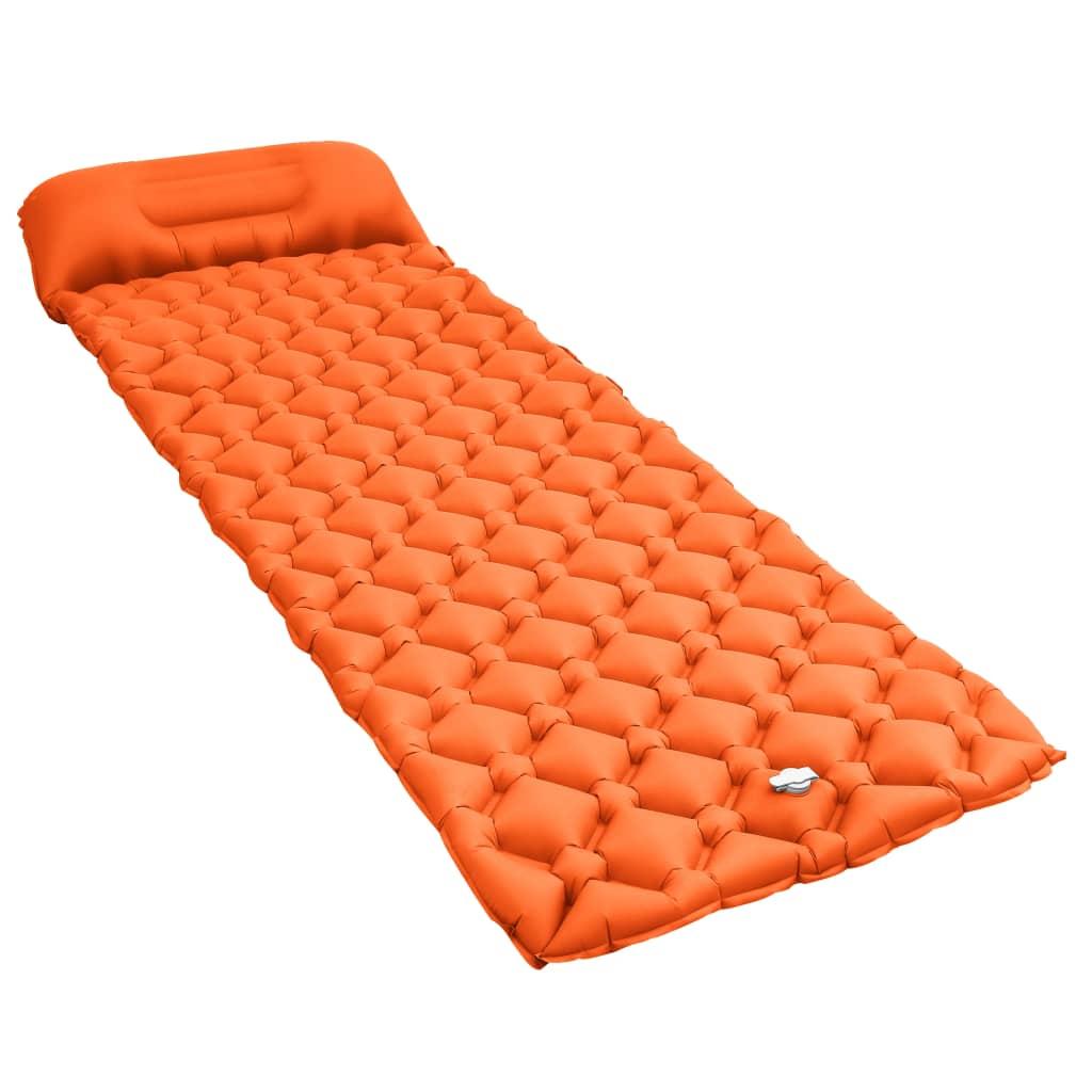 vidaXL Nafukovací matrac s vankúšom oranžový 58x190 cm