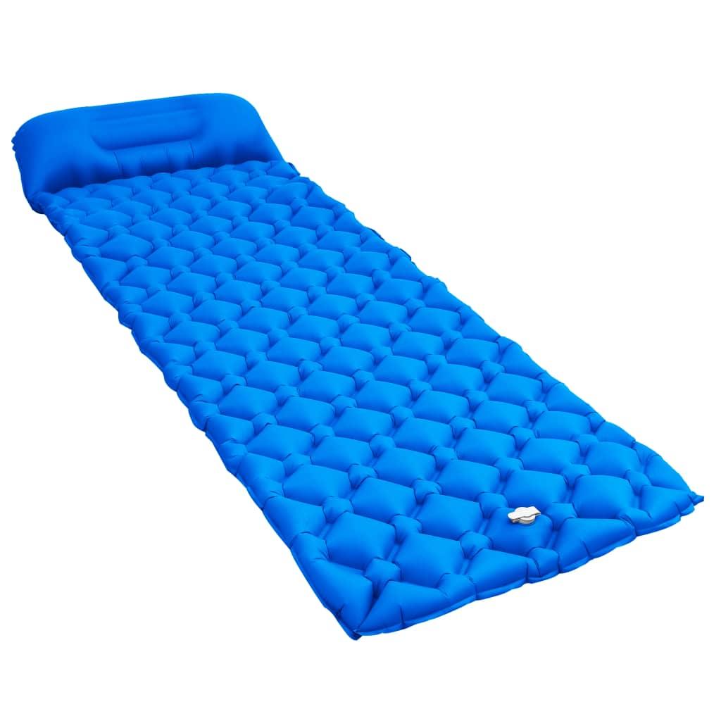 vidaXL Nafukovací matrac s vankúšom modrý 58x190 cm