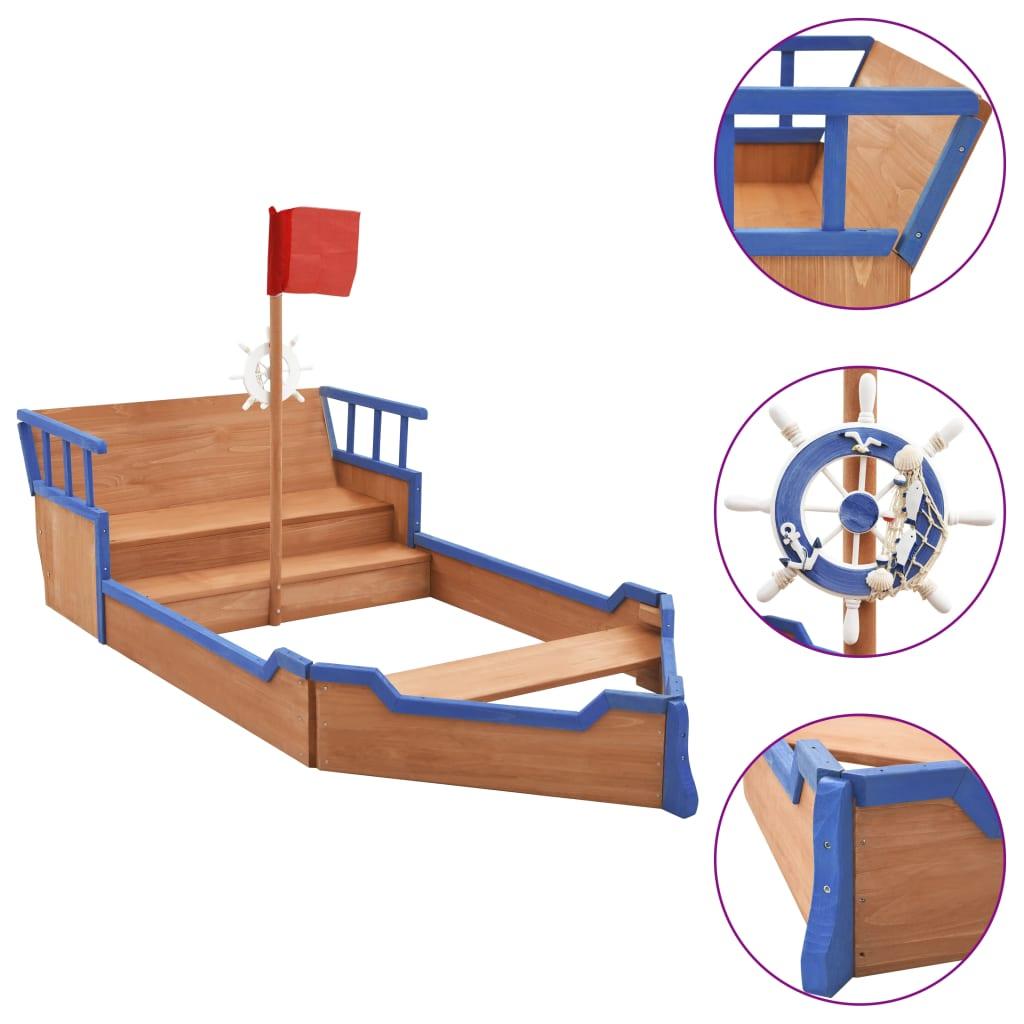 vidaXL Pieskovisko pirátska loď 190x94,5x136 cm jedľové drevo