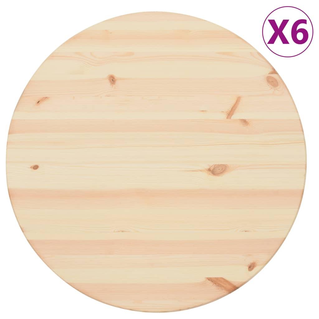 vidaXL Stolové dosky 6 ks, prírodná borovica, okrúhle 25 mm, 60 cm