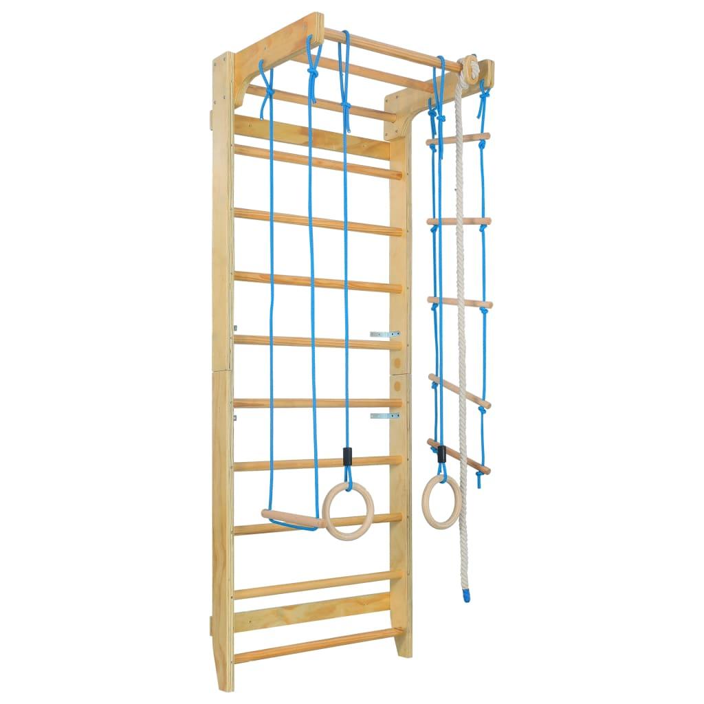 vidaXL Domáca preliezačka s rebríkmi a kruhmi drevená