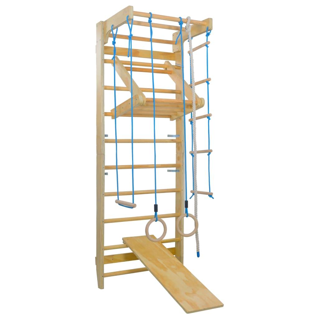 vidaXL Domáca preliezačka s rebríkmi, kruhmi a šmýkačkou, drevo
