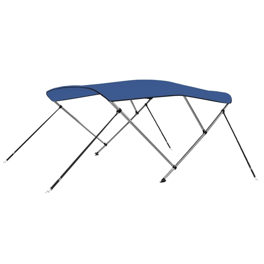 vidaXL Strieška Bimini s 3 oblúkmi, modrá 183x160x140 cm