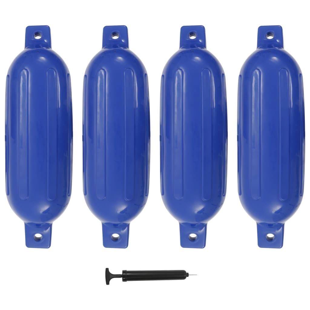 vidaXL Lodný nárazník 4 ks modrý 58,5x16,5 cm PVC