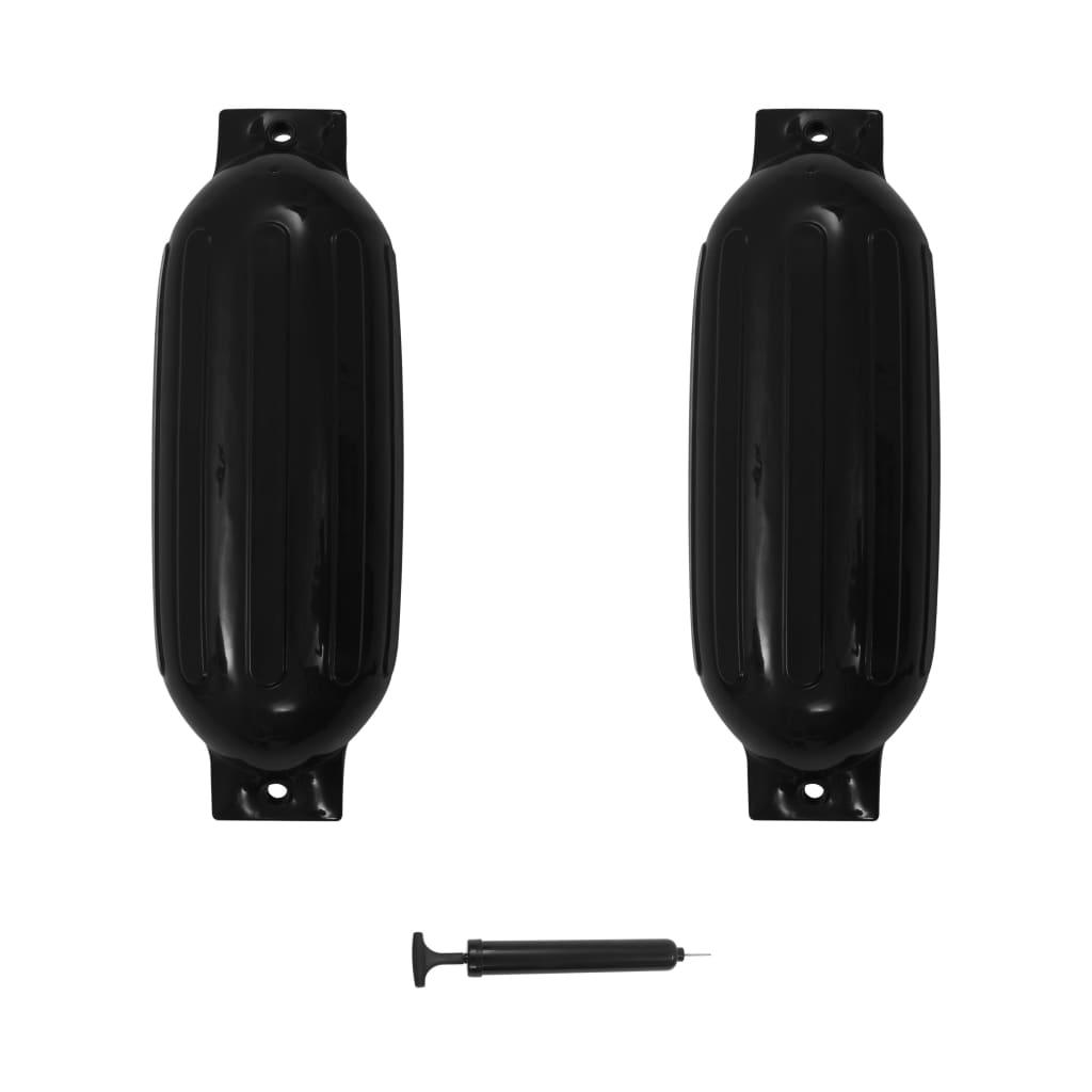 vidaXL Lodný nárazník 2 ks čierny 69x21,5 cm PVC