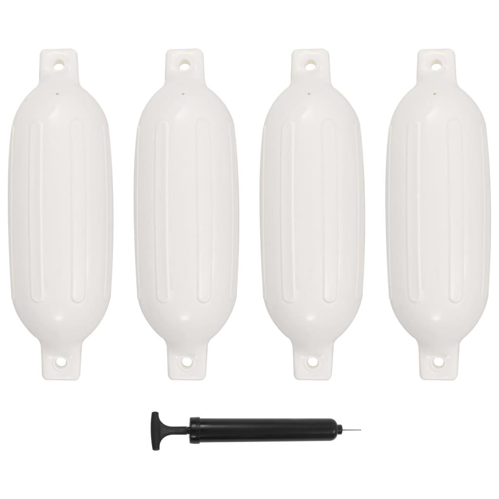 vidaXL Lodný nárazník 4 ks biely 58,5x16,5 cm PVC