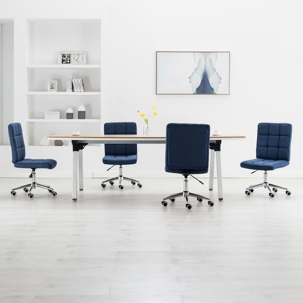 vidaXL Jedálenské stoličky 4 ks, modré, látka