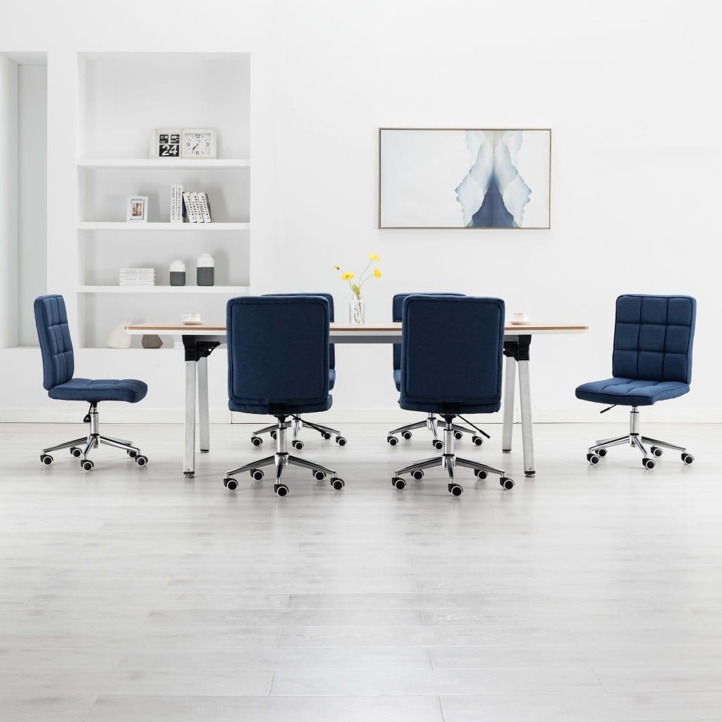 vidaXL Jedálenské stoličky 6 ks, modré, látka