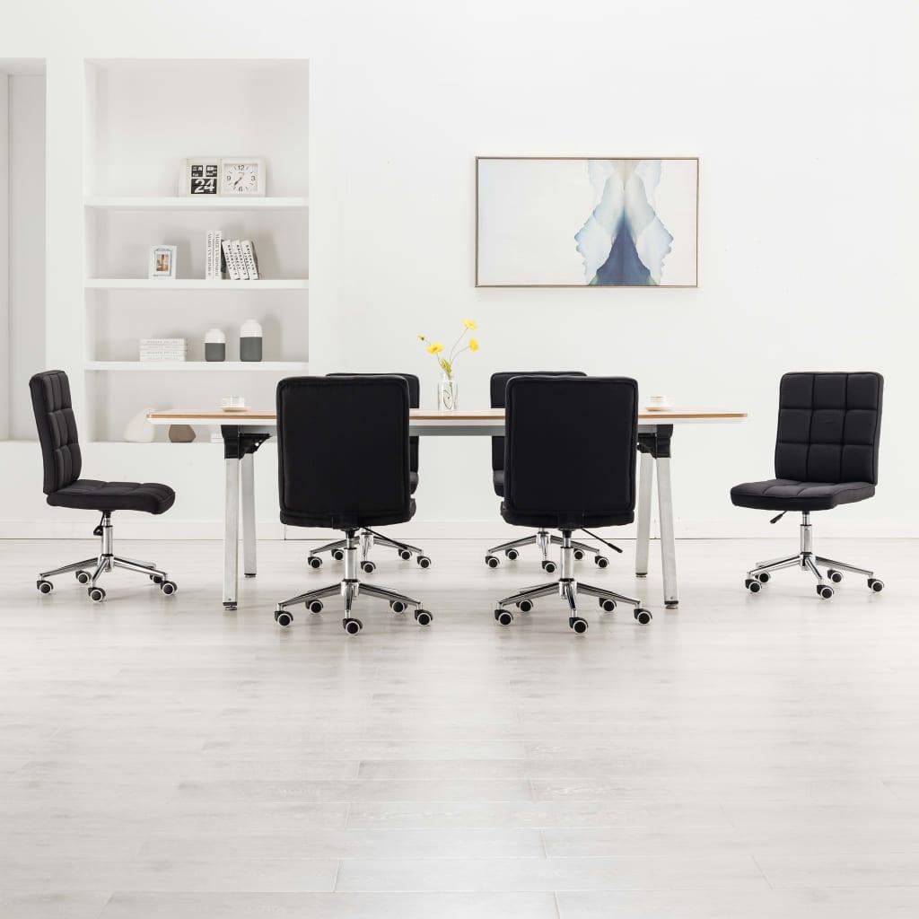 vidaXL Jedálenské stoličky 6 ks, čierne, látka