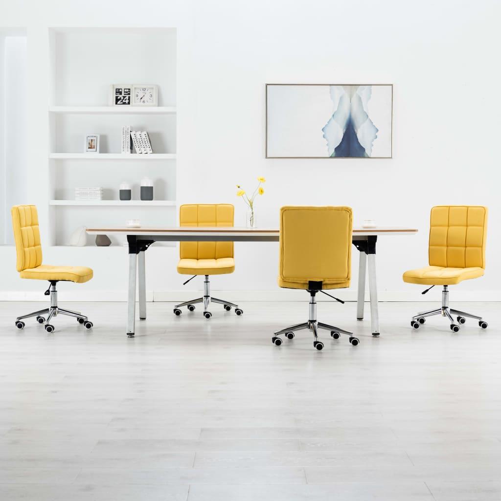 vidaXL Jedálenské stoličky 4 ks, žlté, látka