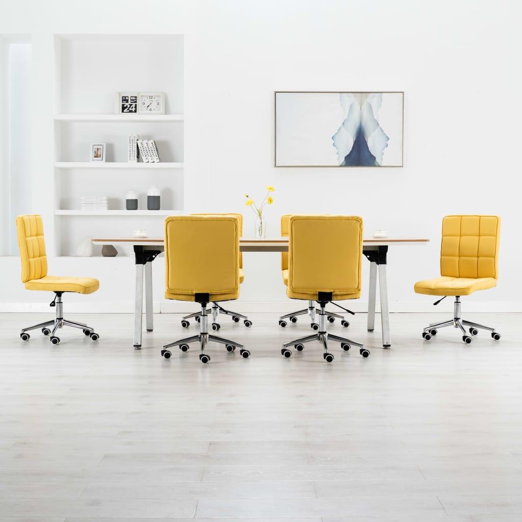 vidaXL Jedálenské stoličky 6 ks, žlté, látka