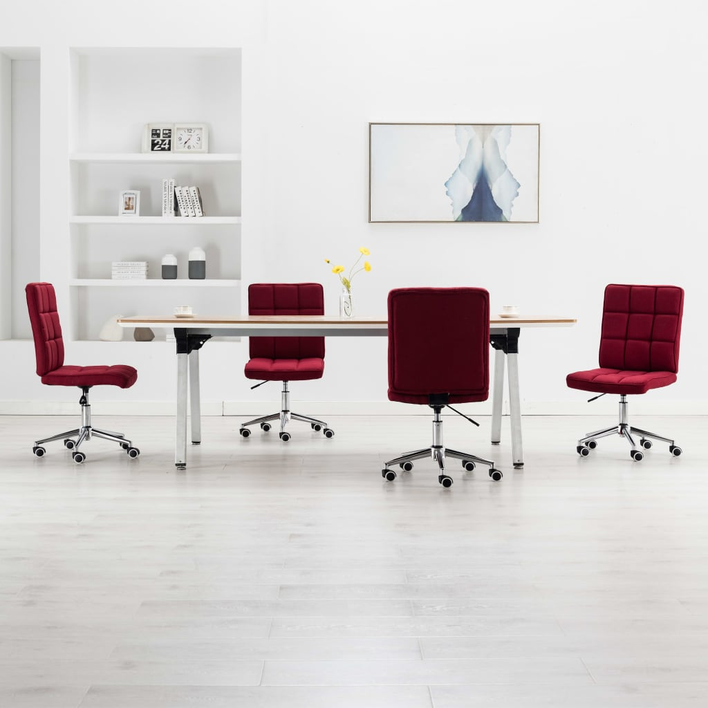 vidaXL Jedálenské stoličky 4 ks, vínovo červené, látka