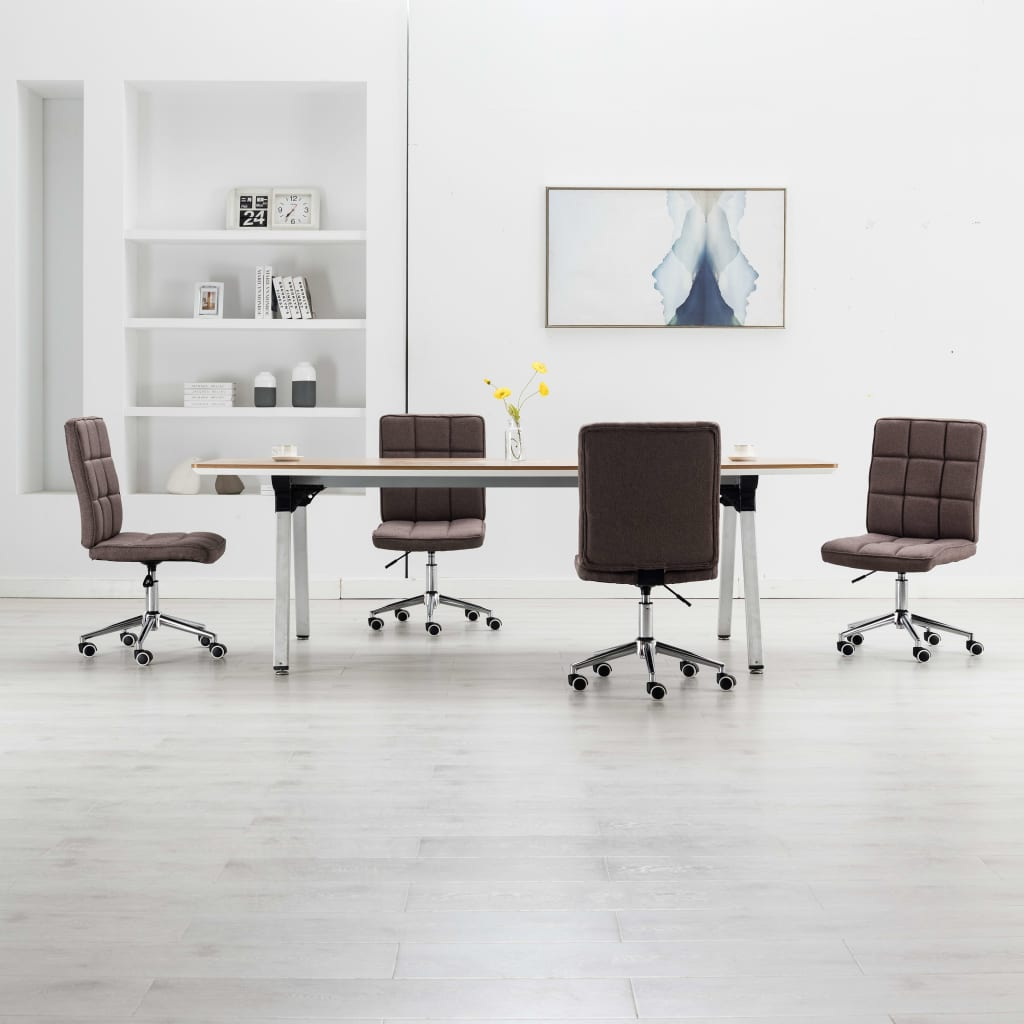 vidaXL Jedálenské stoličky 4 ks, sivohnedé, látka