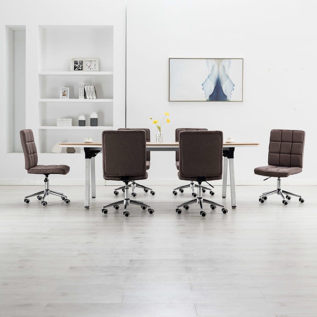 vidaXL Jedálenské stoličky 6 ks, sivohnedé, látka