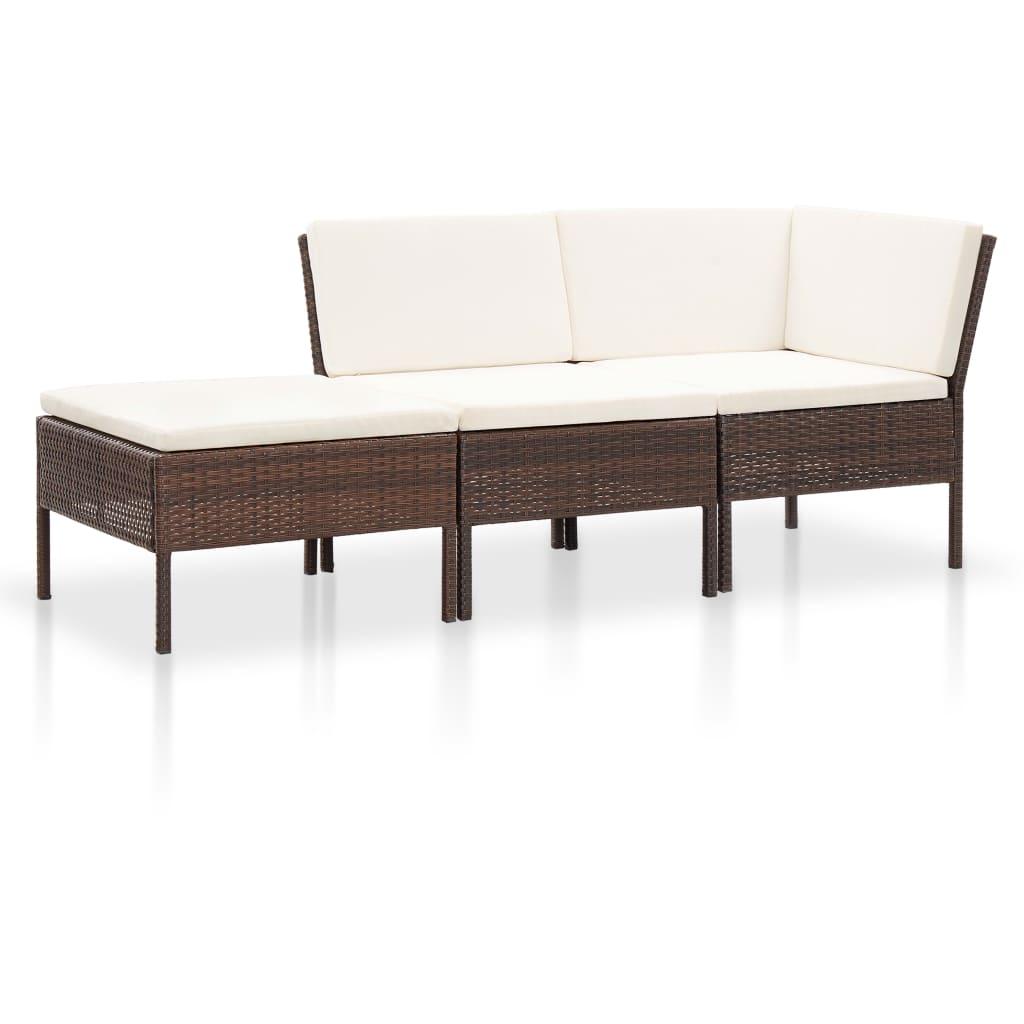 vidaXL 3-dielna záhradná sedacia súprava s vankúšmi polyratanová hnedá