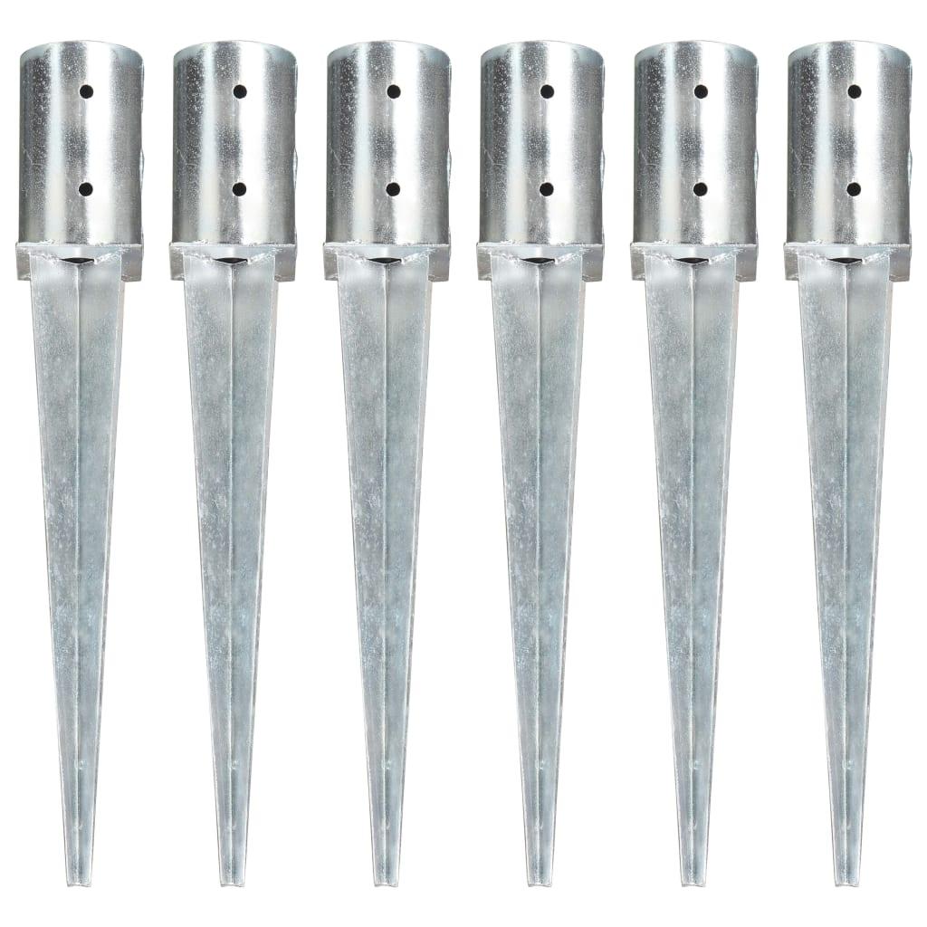 vidaXL Kotviace hroty 6 ks, strieborné 8x61 cm, pozinkovaná oceľ