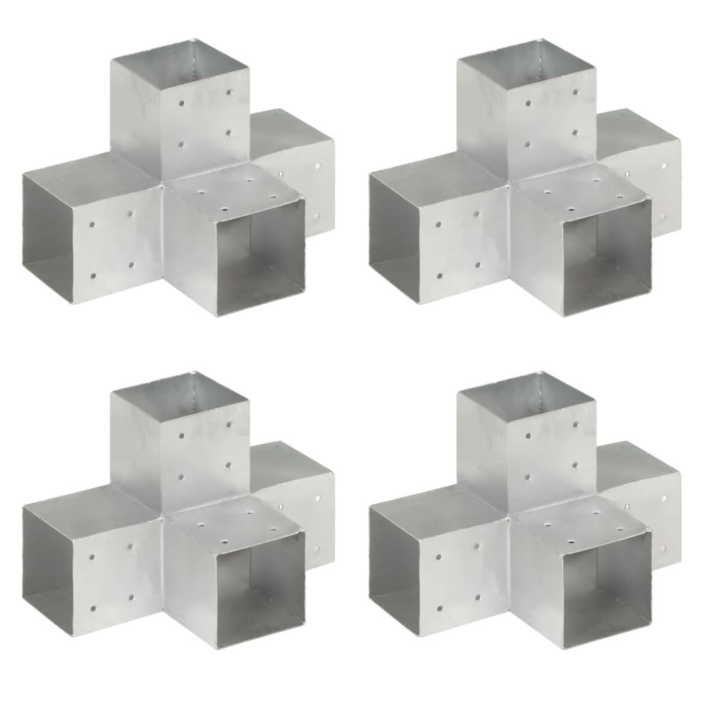 vidaXL Trámové spojky 4 ks v tvare X 101x101 mm pozinkovaný kov