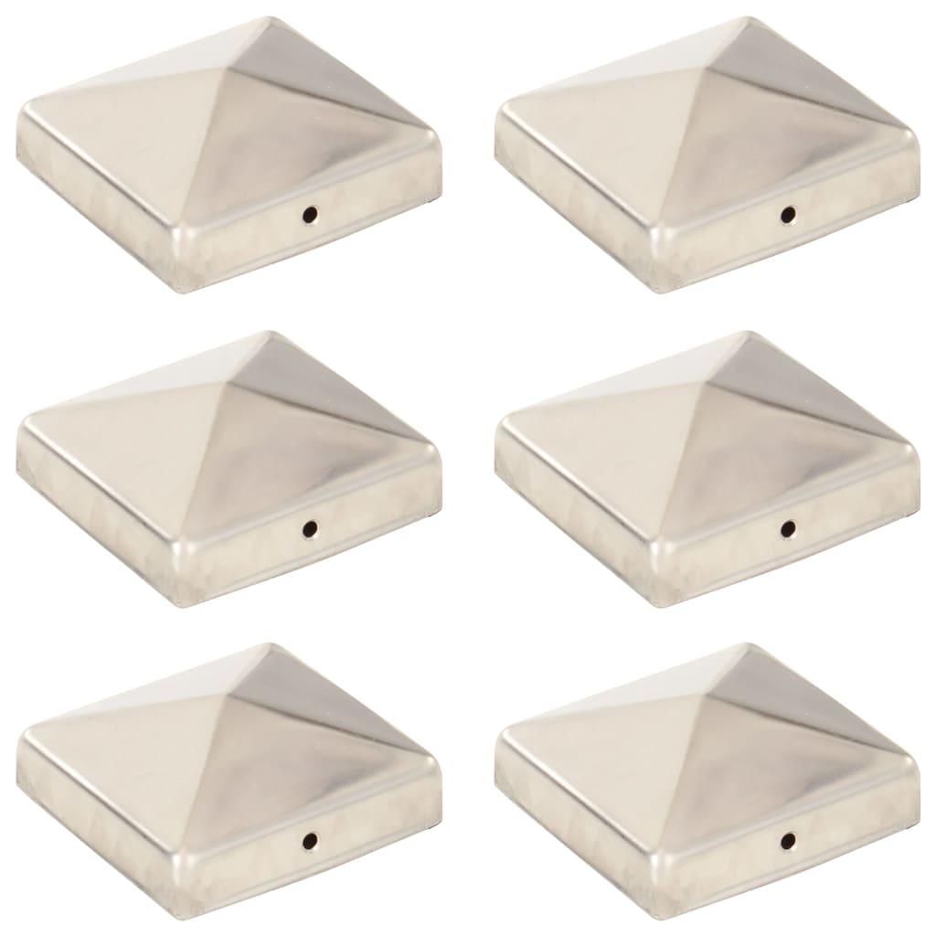 vidaXL Pyramídové krytky na plotové stĺpiky 6 ks 81x81 mm nehrdzavejúca oceľ