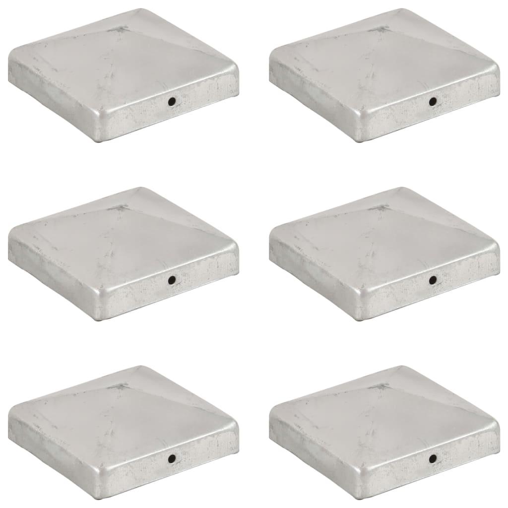 vidaXL Pyramídové krytky na plotové stĺpiky 6 ks 91x91 mm pozinkovaný kov