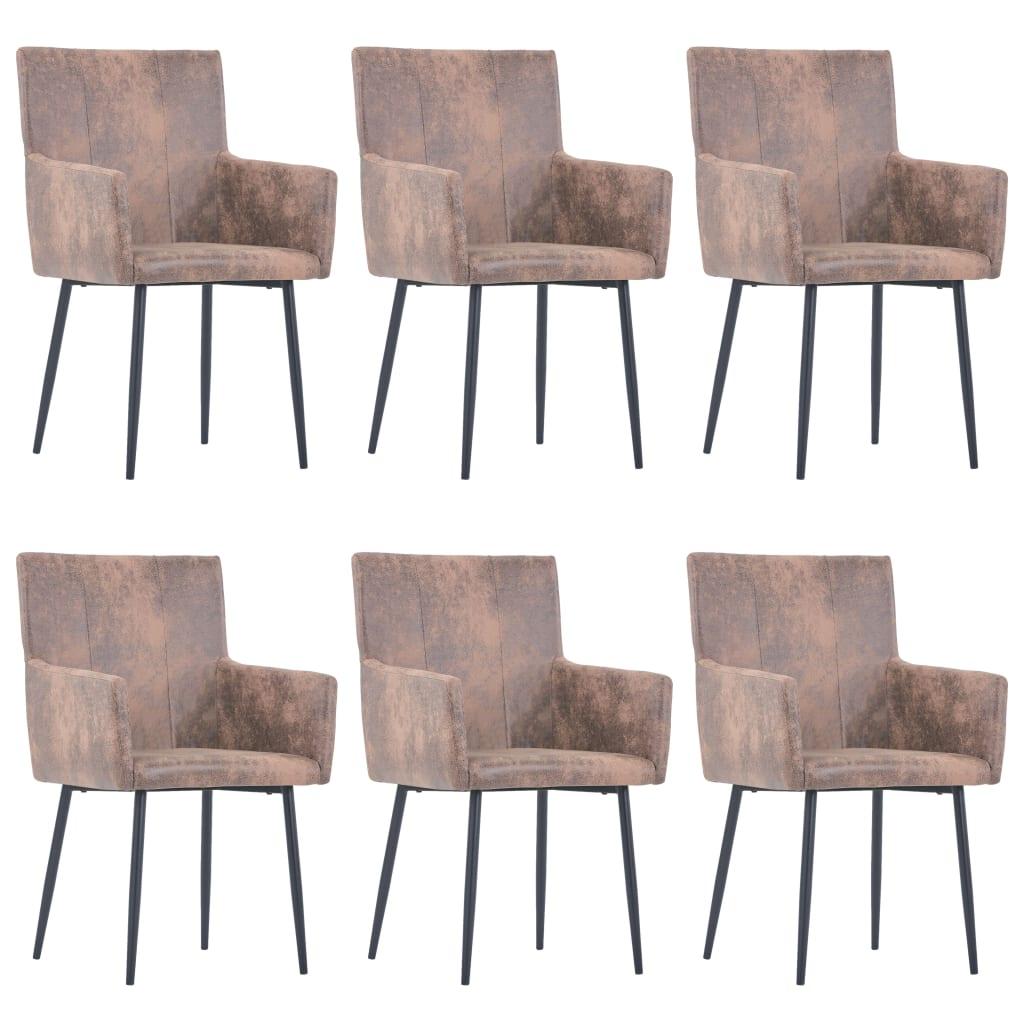 vidaXL Jedálenské stoličky s opierkami rúk 6 ks hnedé umelá semišová koža