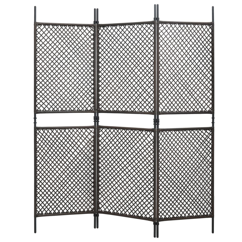 vidaXL 3-panelový paraván hnedý 180x200 cm polyratanový