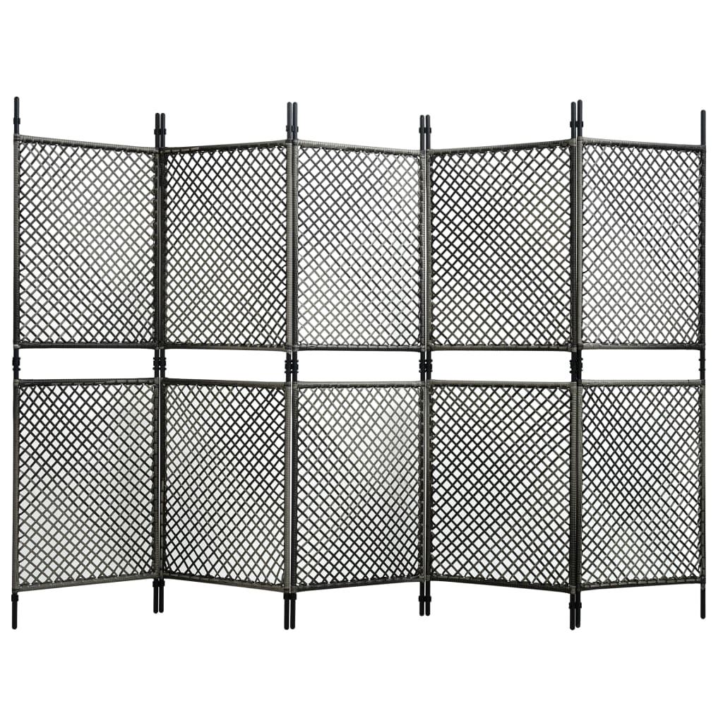 vidaXL 5-panelový paraván antracitový 300x200 cm polyratanový