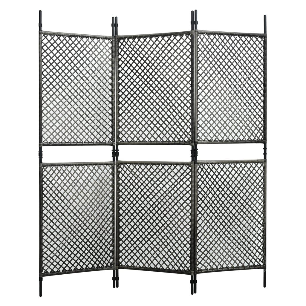 vidaXL 3-panelový paraván antracitový 180x200 cm polyratanový